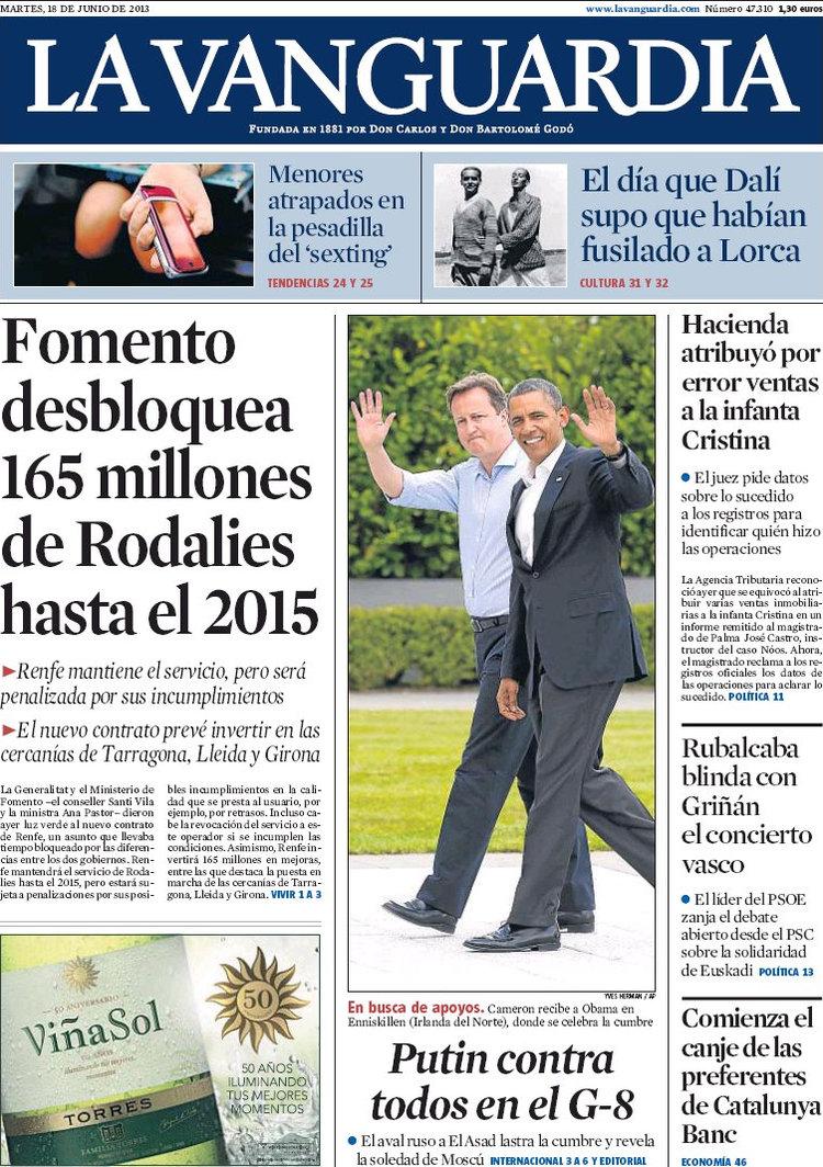 Periodico la vanguardia 18 6 2013 - Portada de la vanguardia ...