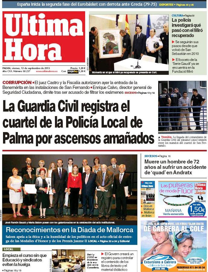 Periodico ltima hora 13 9 2013 for Ultima hora sobre clausula suelo