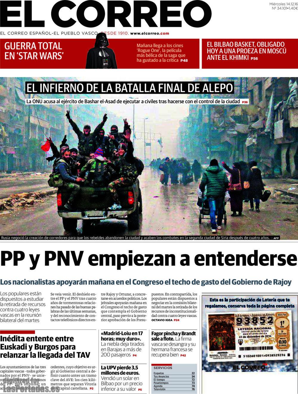 Periodico el correo 14 12 2016 for Correo la 14