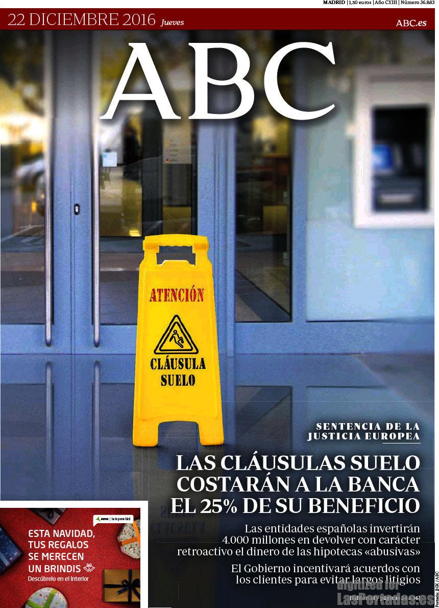Periodico abc 22 12 2016 for Clausula suelo tarragona