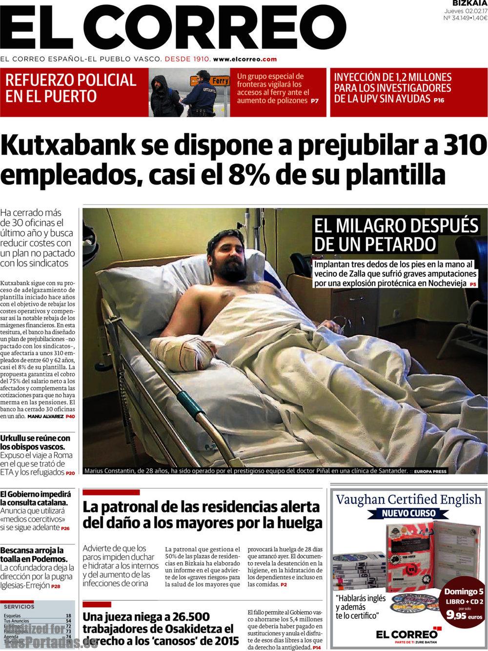 Periodico el correo 2 2 2017 for Oficina kutxabank girona