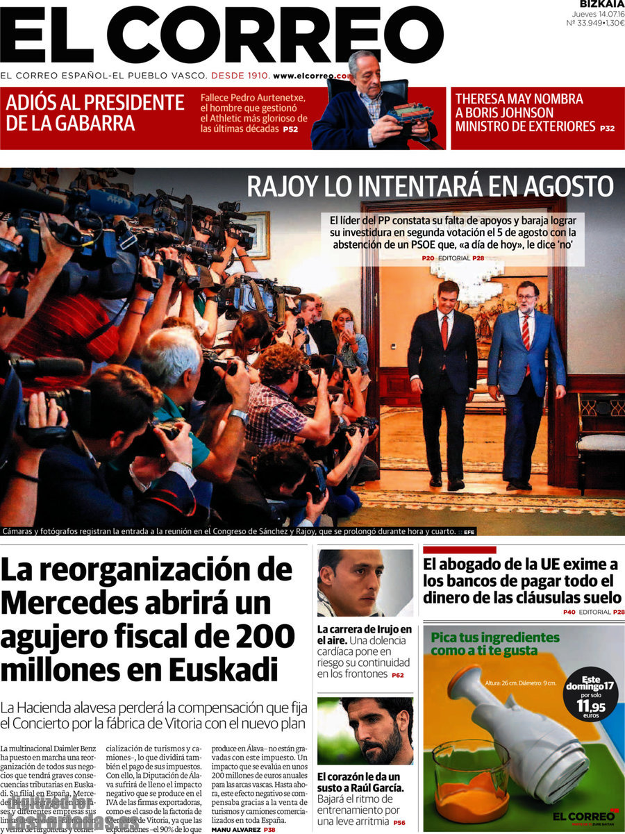 Periodico el correo 14 7 2016 for Correo la 14