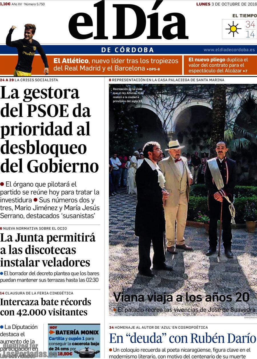 Periodico El Día De Córdoba 3 10 2016