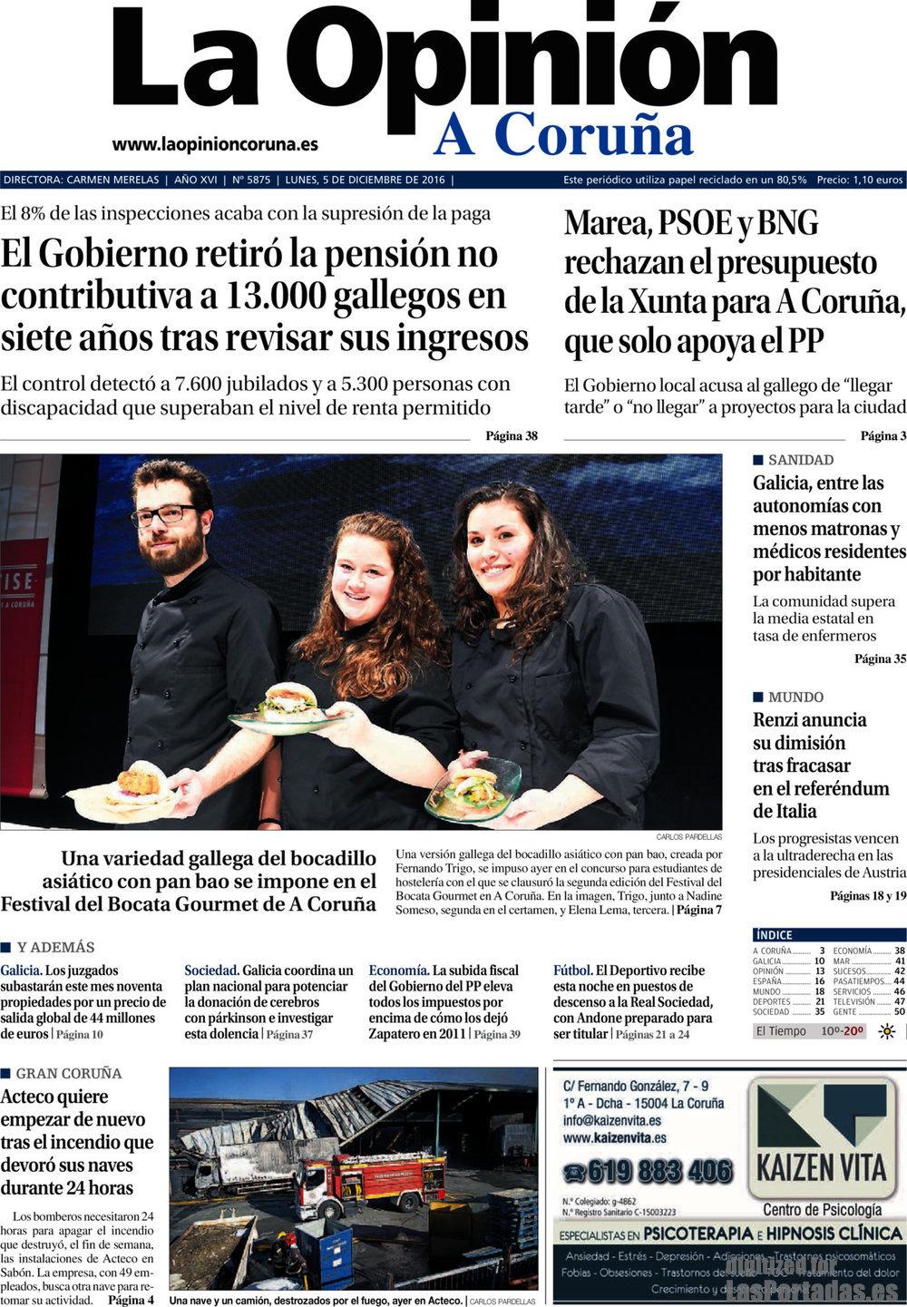 Periodico La Opinión Coruña - 5/12/2016