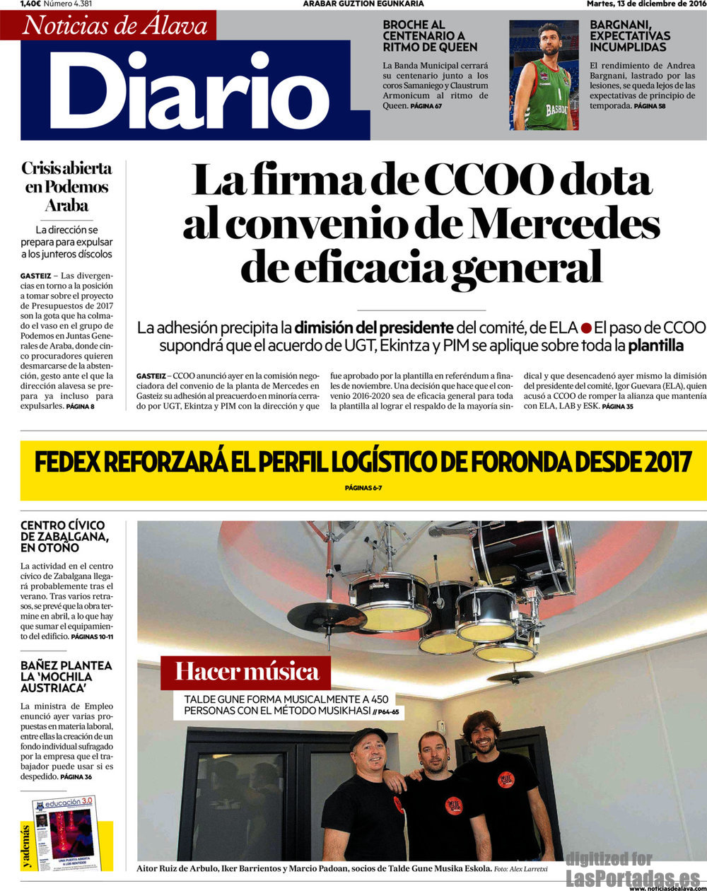Periodico Diario de Noticias de Álava - 13/12/2016