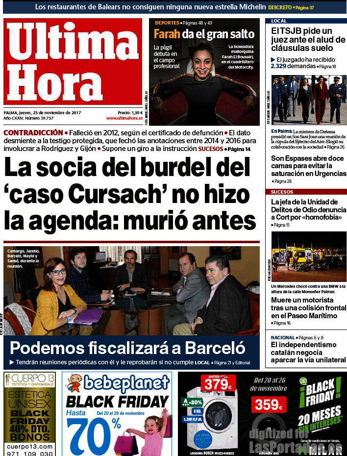 Periodico ltima hora 23 11 2017 for Hipotecas suelo ultima hora