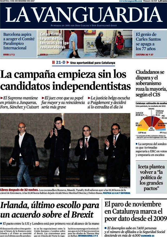 Periodico La Vanguardia 5 12 2017