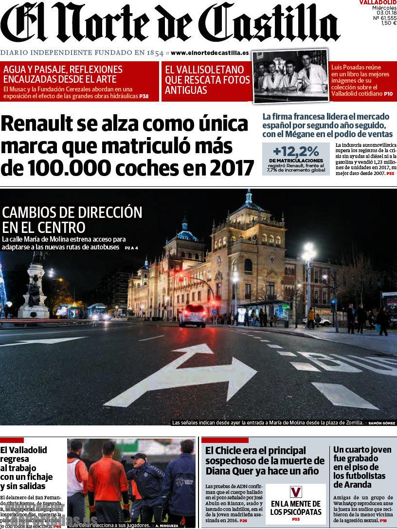 Periodico El Norte de Castilla - 3/1/2018