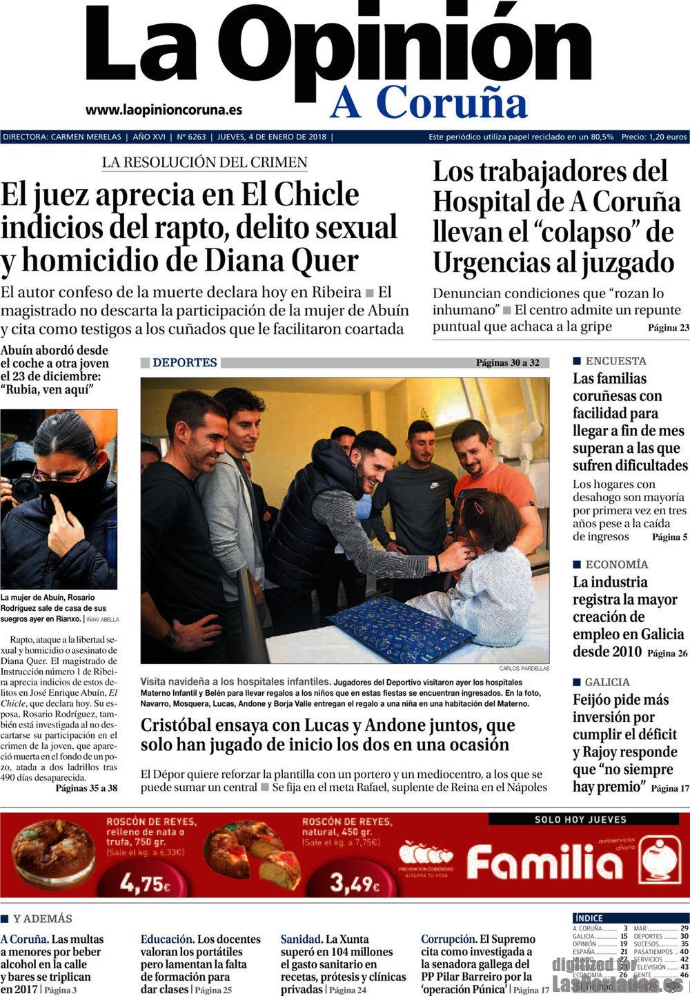 Periodico La Opinión Coruña - 4/1/2018