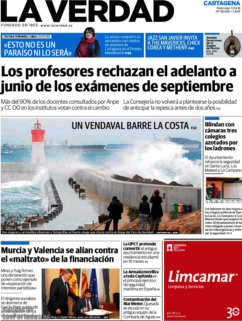 Periodico La Verdad Cartagena - 11/4/2018