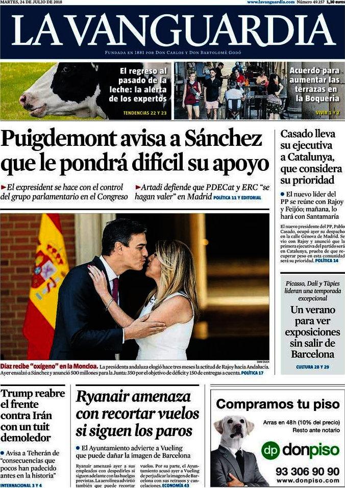 Periodico La Vanguardia 24 7 2018