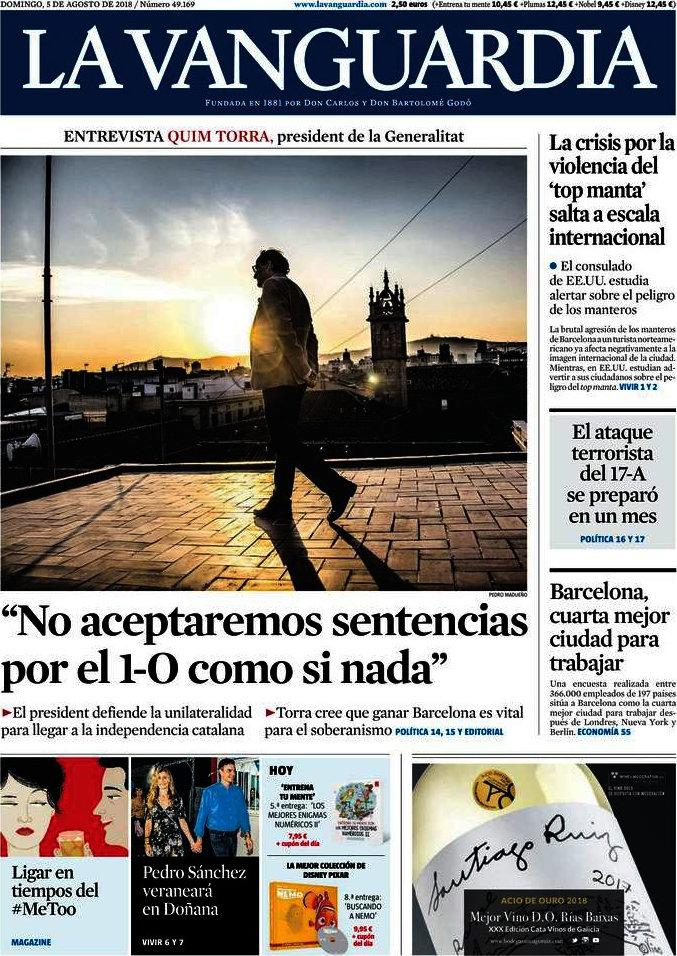 Periodico La Vanguardia - 5/8/2018