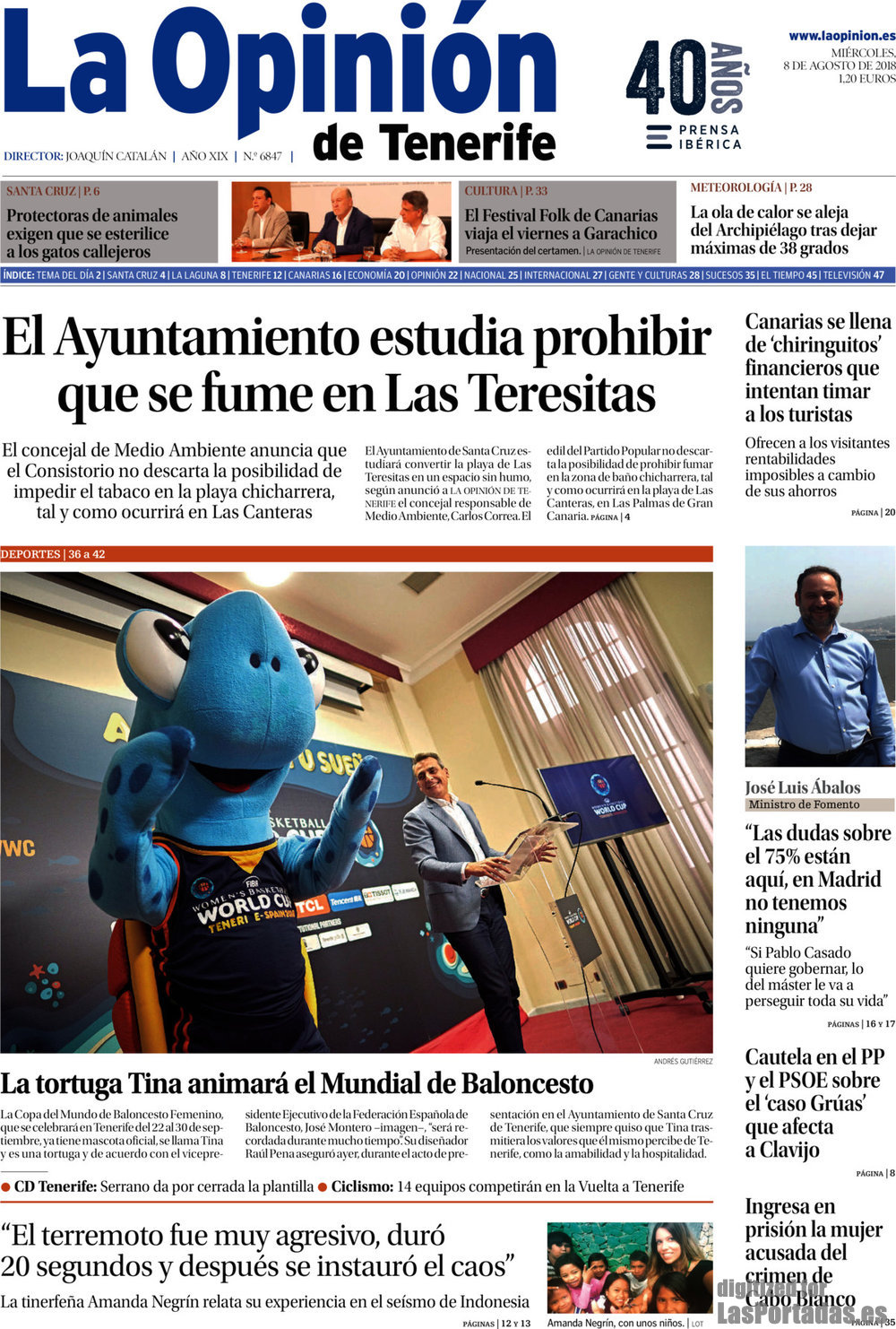 Periodico La Opinión de Tenerife - 8/8/2018